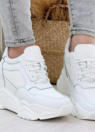 Белые кроссовки на платформе и танкетке,белые сникерсы на плат...