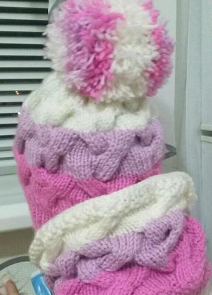 Детский вязаный наборчик (Шапка и шарф -снуд)