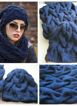 Женский вязаный набор (шапка и шарф-снуд)