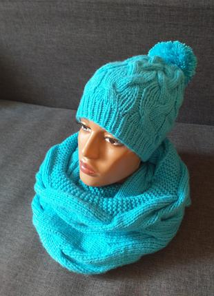 Женский вязаный набор шапка и шарф-снуд
