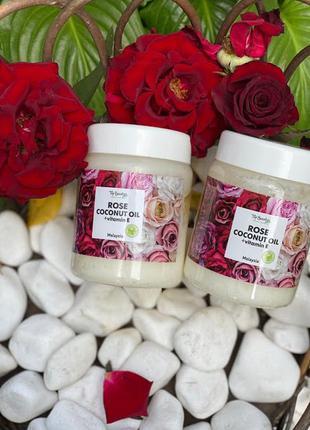 """Ароматизированное кокосовое масло для волос и тела """"роза"""" top ..."""