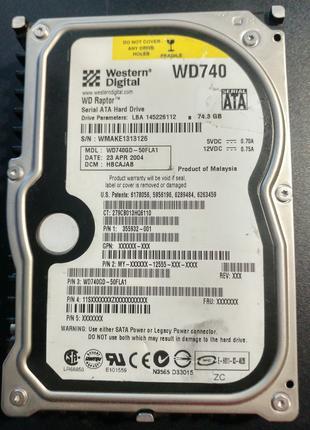 Рабочий жесткий диск SATA Western Digital WD740GD 10000RPM 80Гб