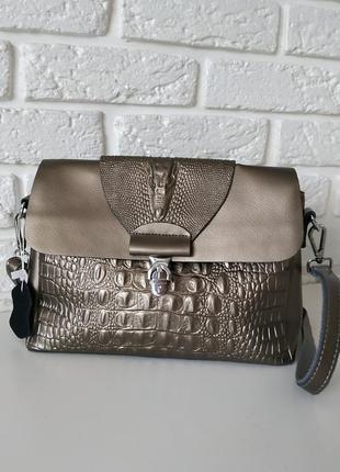 Красивая кожаная сумка с тиснением аллигатора