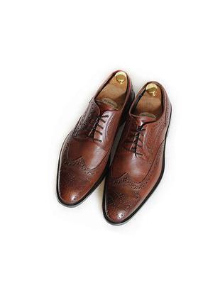 Мужские кожаные туфли броги roberto santi италия оригинал