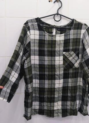 Натуральная вискозная блуза в клетку