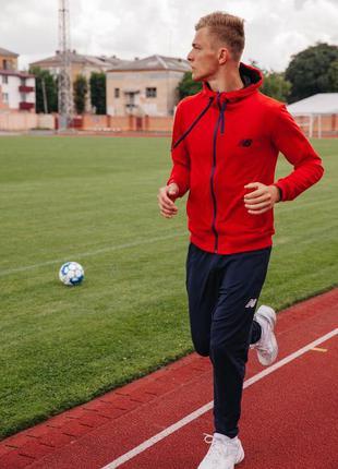 New balance мужской осенний спортивный костюм с капюшоном на з...