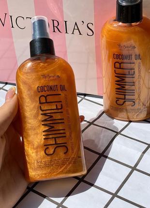 Кокосовое масло для загара с шиммером top beauty shimmer oil