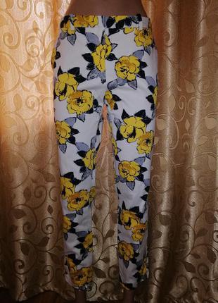 🌺🎀🌺стильные укороченные брюки, штаны в цветочный принт zara ba...