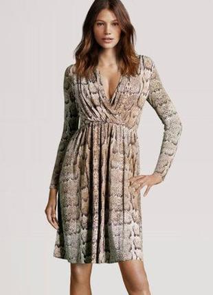 Стильное платье миди на запах в анималистический принт h&m h&m