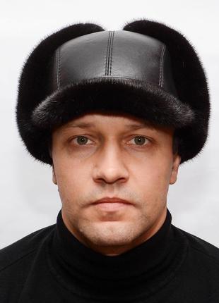 Мужская норковая шапка - ушанка с козырьком