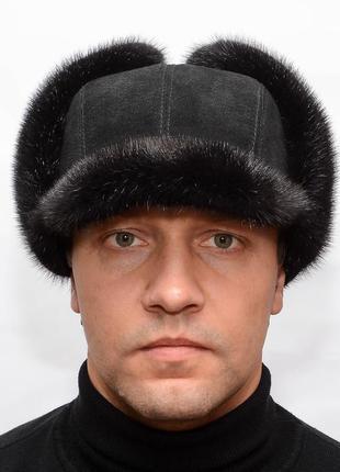 Мужская зимняя норковая шапка - ушанка с козырьком