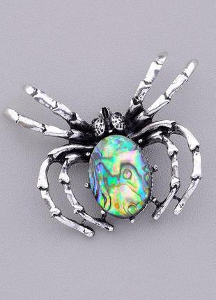 Кулон-брошь жук-паук с натуральным камнем галиотис 60x50мм