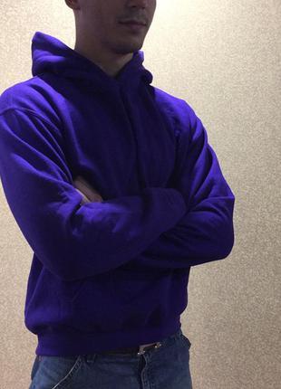 Худи gildan. мужская толстовка размер м. фиолетовая кофта м. а...