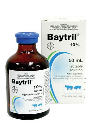 Байтрил 10%, Байер - противомикробный препарат  Bayer Baytril 10%