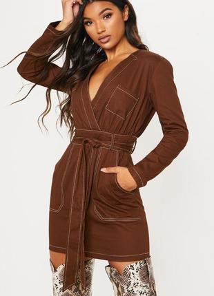 Стильное повседневное осеннее платье , плотный коттон, шоколад...