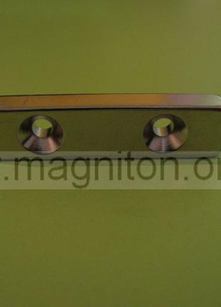 магнит перпендикуляр с двумя отверстиями  40х10х5-2D3,5/7 мм