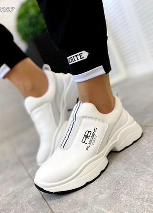 Белые кожаные кроссовки без шнурков. люкс качество!