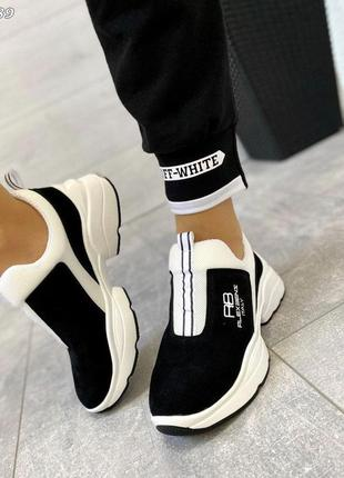 Черные замшевые кроссовки без шнурков. люкс качество!
