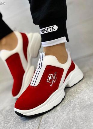 Красные замшевые кроссовки без шнурков. люкс качество!
