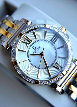 Бриллианты! женские часы bulova с 24 бриллиантами, діаманти