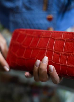 Клатч/кошелек из натуральной кожи крокодила