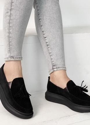 Нереально крутые черные замшевые туфли на низком ходу