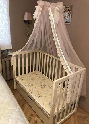 Детская кроватка Соня ЛД13 Верес, матрац, балдахин