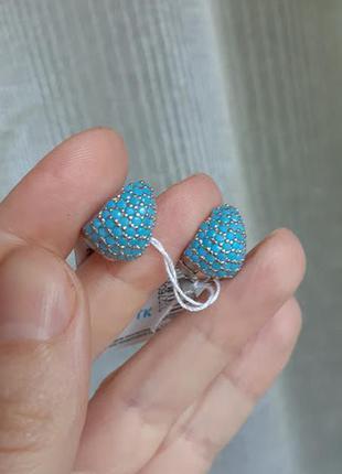 """Серебряные серьги """"безе"""" с голубым камнем"""