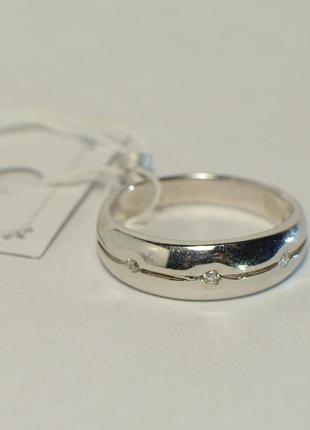 Серебряное широкое кольцо с камнями 925 проба