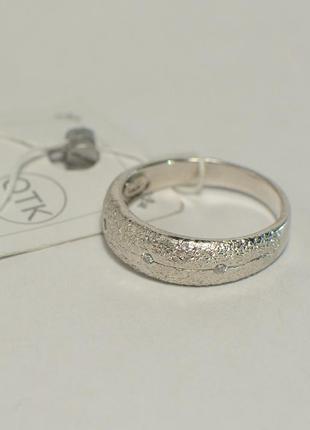 Серебряное широкое кольцо с алмазным покрытием и с камнями 925...