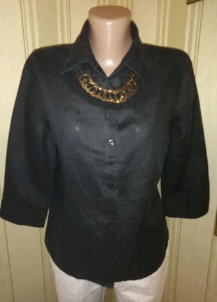 Льняная рубашка чёрная