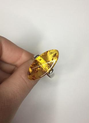 Серебряное кольцо с жёлтым камнем янтарь 925 проба