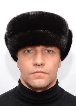Зимняя мужская норковая кепка на жесткой основе