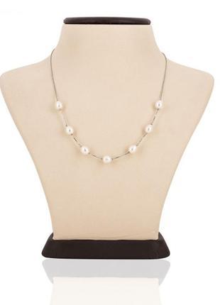 Серебряная цепочка ожерелье 925 проба с жемчугом