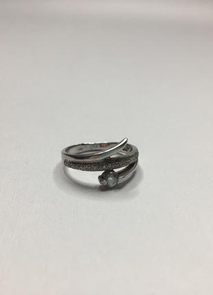 Серебряное плетёное оксидированное кольцо с камнем 925 проба а...