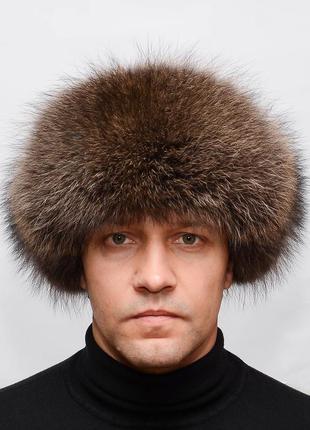Зимняя мужская меховая шапка ушанка из енота с черной кожей