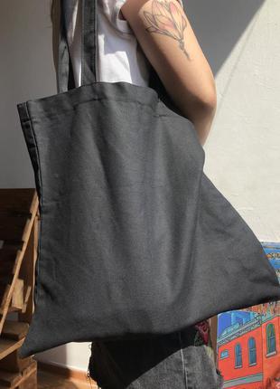 Тканевая черная эко-сумка шоппер из хлопка бязи без печати