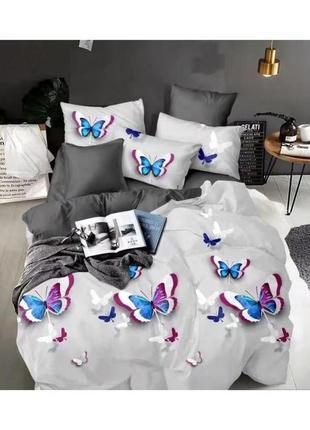 """Двухспальный комплект постельного белья из бязи голд""""бабочки'"""