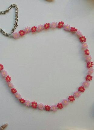 Чокер из бисера ромашки цветочки, нежный, розовый, рожевий, тр...