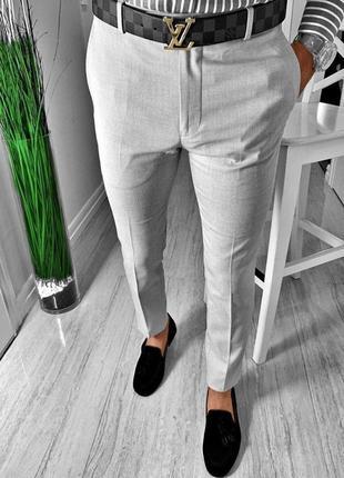 Стильные серые мужские классические брюки