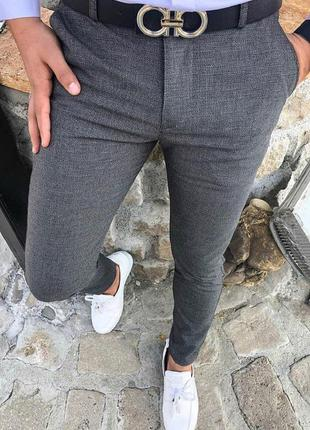 Классика! яркие мужские серые брюки