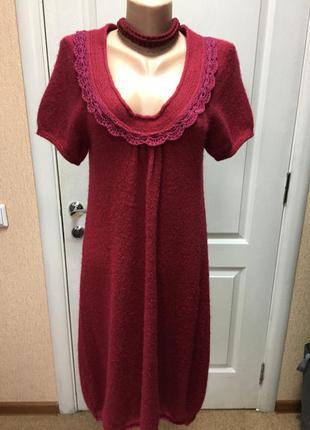 Женское платье - туника вязаная бордовая р м