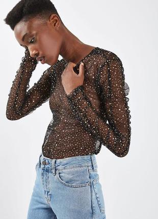 Фактурна прозора блуза з зірками / ефектная блуза со звездами