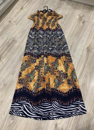 Сарафан платье макси красивое длинное в этнопринт   на завязках