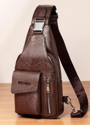 Мужская чоловіча сумка через плечо бананка бренда weixier prem...