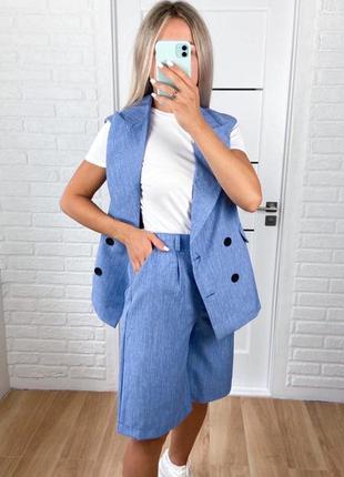 Лляний жіночий костюм двійка шорти бермуди + жилет безрукавка