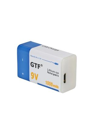 Аккумулятор Крона 9В 1000mAh GTF Li-Ion (6F22) зарядка micro-USB