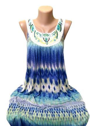 Идеальное миди платье f&f, сарафан из вискозы с вышивкой на де...