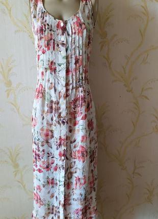 Платье миди цветочный принт вискоза m&s p l