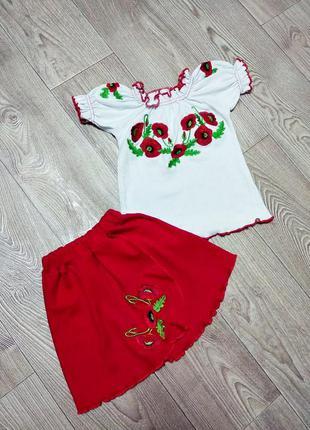Вышиванка на девочку костюм комплект вышитый юбка вишиванка